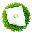 Grassy sphere with a clean sheet of paper vector image