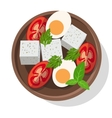 Fresh salad with cheese eggs tomatoes and greens vector image