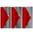 metal brushed background with perforation red and vector image