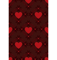 Red hearts pattern on dark background vector image vector image