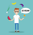 modern lifestyle go vegan young nerd juggling vector image
