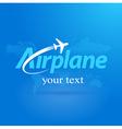 airplane logo flight symbol emblem blue takeoff vector image vector image