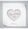 Valentines Day background with cutting heart vector image