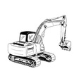 black sketch of big excavator vector image