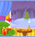 christmas room concept landscape cartoon style vector image