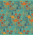 floral seamless pattern with forest owl vector image