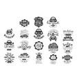 set of vintage car emblems with hand vector image