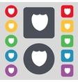 Shield sign icon Protection symbol Set colour vector image