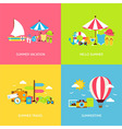 Summer Travel Flat Concepts Set vector image