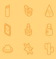 wild west color outline isometric icons vector image