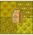 Seamless patterns set with tea cup pot lemon and vector image
