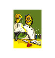 Scientist Lab Researcher Chemist Retro vector image vector image