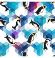abstract blue crystal ice background with penguin vector image