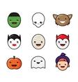 Cute Kawaii Halloween Icons Set Funny Monster vector image