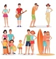 People and couples on vacation beach party vector image