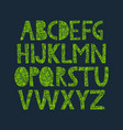hand drawn alphabet with organic texture vector image