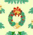Seamless texture christmas wreath with bells vector image