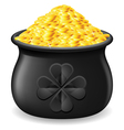 Pot full of gold coin vector image vector image