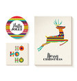 Colorful set of christmas card templates with deer vector image vector image