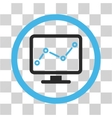 Chart Monitoring Flat Rounded Icon vector image