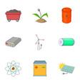 energy saving icons set cartoon style vector image