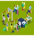 Airport Security and Isometric People with Baggage vector image