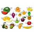 Appetizing ripe tropical and garden fruits vector image