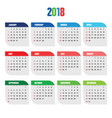 calendar for 2018 year organizer vector image