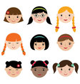 Cute girls faces set vector image