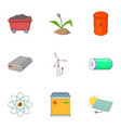 energy saving icons set cartoon style vector image