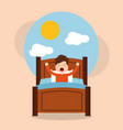 little boy wake up in the morning cloud sun vector image
