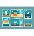 Bar beach stamp set Summer Vacation vector image