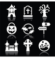 Halloween white icons set on black vector image