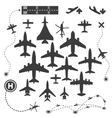 Aircraft or Airplane Icons Set Collection vector image