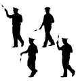 Black silhouettes of Police officer with a rod on vector image