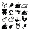 Chicken fried chicken legs - food icons set vector image