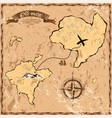 Old or vintage map with islands and ship vector image
