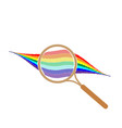 rainbow with magnifier sign 105 vector image