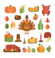 set thanksgiving day colorful flat icons vector image