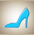 woman shoe sign sky blue icon with vector image