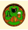 Round wooden shield with shamrock vector image