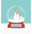 Glass ball with snowman and birds vector image