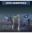 Abandoned cemetery in the desert and guard Gryphon vector image