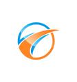round loop business finance arrow logo vector image