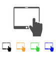 hand points mobile tablet icon vector image