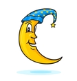 Moon in nightcap with gold star vector image