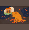 sad homeless dog sitting on street covered with vector image