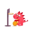 Red Dragon Playing Basketball vector image