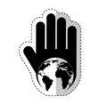 hand human with world planet silhouette icon vector image