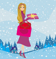 card with a beautiful woman doing the shopping in vector image